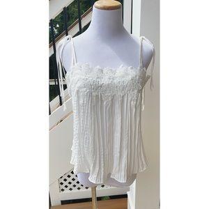 White Lace Tie-Strap Blouse